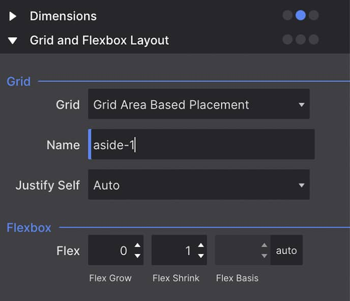 Placing an item in a grid area